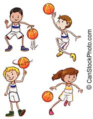 Energetic basketball players - Four energetic basketball...
