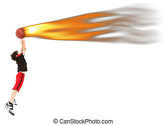 Energetic Boy Child Jumping to Catch Basketball on Fire -...