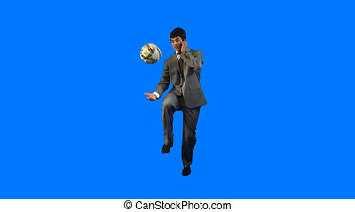 Energetic business - Handsome businessman playing with a...