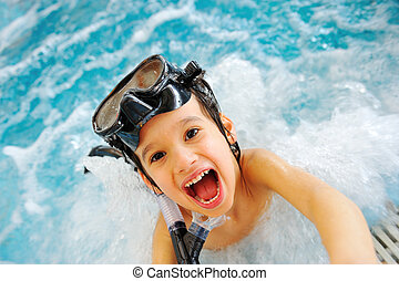 Energetic child in pool