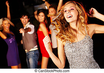 Energetic dance - Portrait of joyous girl dancing at party...