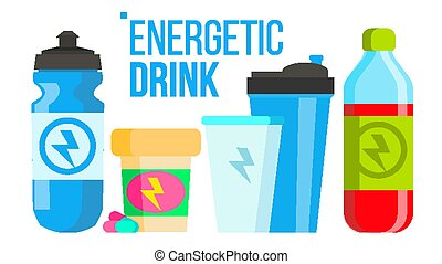 Energetic Drink Vector. Energy Icon. Bottle, Sport Can Or Tin. Isolated Flat Cartoon Illustration