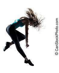 Energetic female doing aerobics