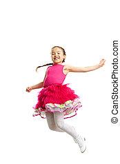 Energetic girl - Full length portrait of a cute little girl...