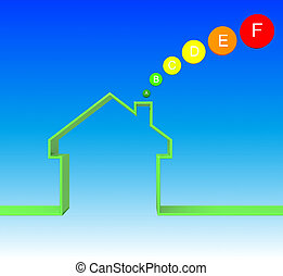 energetic house class image 3d on blue background