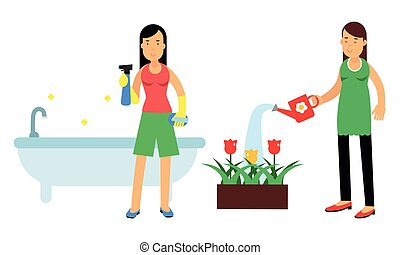Energetic Housewife Scrubbing the Buthtub and Watering Flower Bed Vector Illustration Set. Young Woman Managing Household and Performing Domestic Chores Concept