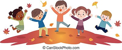 Energetic kids to jump - Vector illustration. Original...