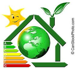energeting, besparing, met, aards