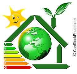 green stylized house with table energy class, inside the globe, sun, leaves, leaving the chimney