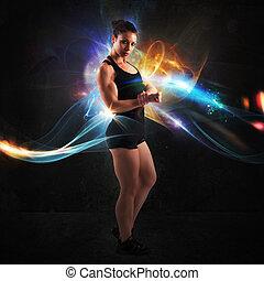energi, av, muskulös, kvinna