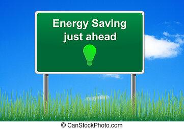 energi, besparing, begrepp, vägmärke, på, sky, bakgrund.