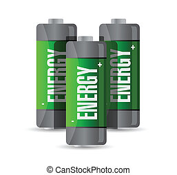 energi, design, batteries., illustration