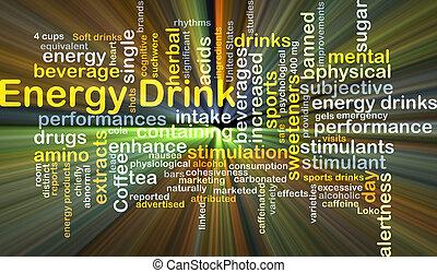 energi, dricka, bakgrund, begrepp, glödande