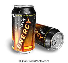 energi, drycken, in, metall, burkar
