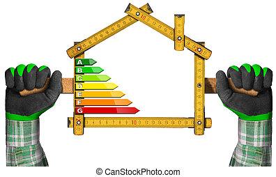 energi, effektivitet, -, linjal, in, den, form, av, hus