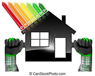 energi, effektivitet, -, symbol, in, den, form, av, hus