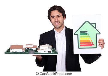 energi, förbrukning, in, nytt hus