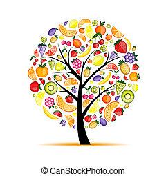 energi, frugt træ, by, din, konstruktion