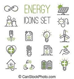 energi, ikonen, vektor, set.
