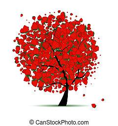 energi, jordgubbe, träd, för, din, design