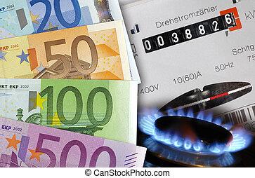 energi, kostar, euro