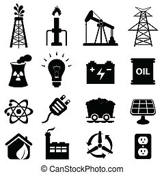 energi, sæt, ikon