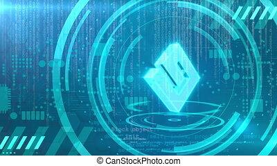 Energi symbol rotating on a cyan HUD background. Seamless loop.