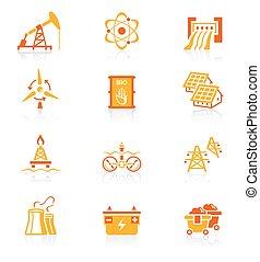 energia, ícones, suculento, série