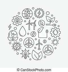 energia alternativa, ilustração, circular