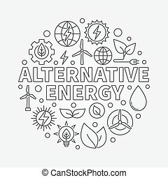 energia alternativa, ilustração, redondo