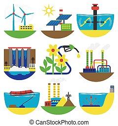 energia alternativa, vetorial, illustration., fontes