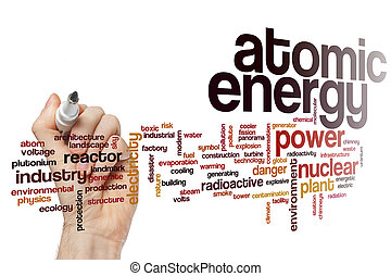 energia atômica, palavra, nuvem