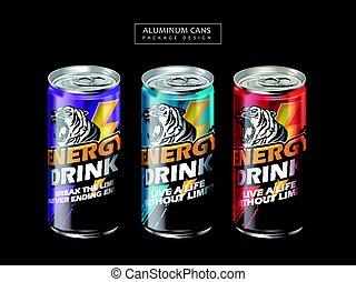energia, bebida, pacote