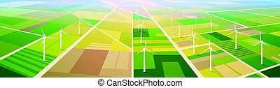 energia, campo, estação, renovável, fundo, turbina, vento
