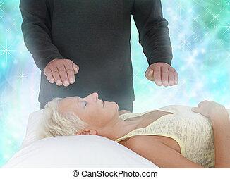 energia, canalização, cura