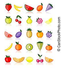 energia, collezione, vettore, disegno, fruits., tuo