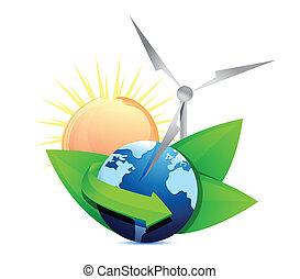 energia, conceito, globo, renovação