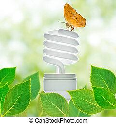 energia, conceito, poupar, lâmpada
