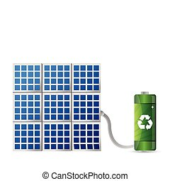 energia, conceito, solar, ilustração