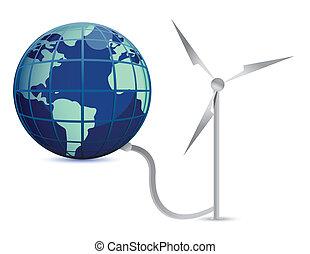 energia, conceito, vento, ilustração