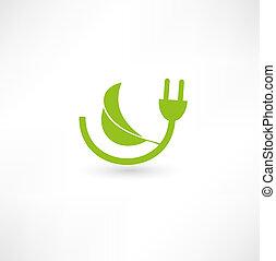 energia, conceito, verde, sinal