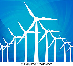 energia, concetto, generatori, vento, pulito