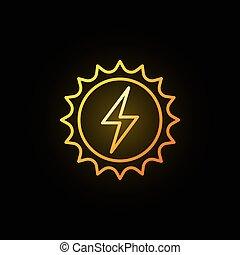 energia, concetto, solare, colorito, icona