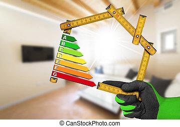 energia, eficiência, -, régua, em, a, forma, de, casa