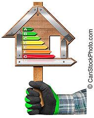 energia, eficiência, -, sinal, em, a, forma, de, casa