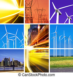 energia elettrica, collage