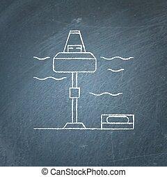 energia, estação, chalkboard, esboço, onda