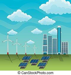 energia, estação, vento, solar, turbina, renovável, painel
