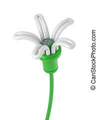 energia, fiore, -, lampada, rinnovabile