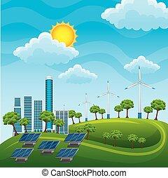 energia, fontes, geradores, solar, alternativa, painéis